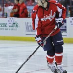 Capitals John Carlson pre-game warmups up at Verizon Center (Cheryl Nichols/District Sports Page)
