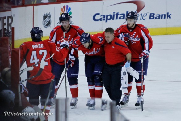 Brooks Laich had to be helped off the ice in second period on Jan. 5 (Photo by Cheryl Nichols)