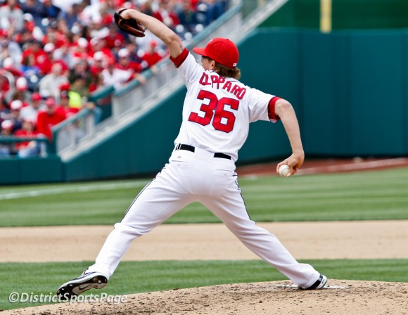 Tyler Clippard pitching during Nationals home opener, 4/12/2012 (Cheryl Nichols/District Sports Page)