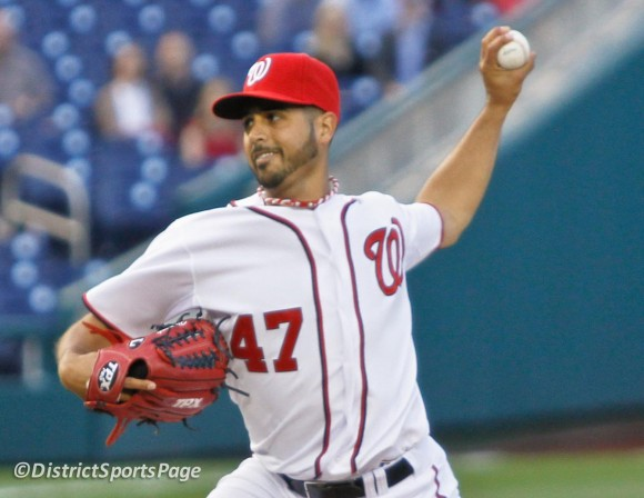 Gio Gonzalez gets first win in a Nationals uniform at Nats home opener (Cheryl Nichols/District Sports Page)