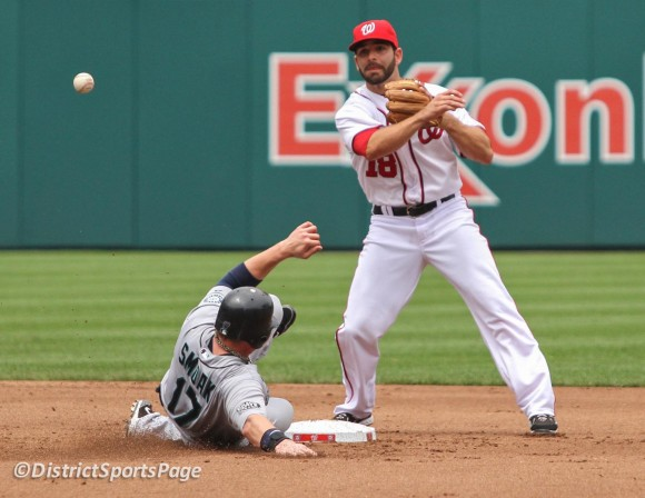 Danny Espinosa turning a double play (Cheryl Nichols/District Sports Page)