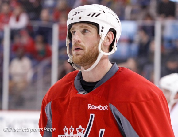 Brooks Laich -Practice April 27 (Cheryl Nichols/District Sports Page)