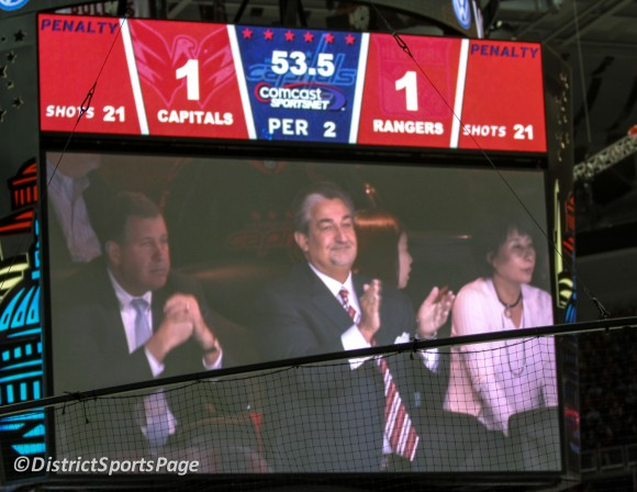 Caps owner Ted Leonsis thanked the fans during second overtime, May 2, 2012 (Cheryl Nichols/District Sports Page)