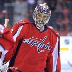 Michal Neuvirth during warmups at Verizon Center, May 2, 2012 (Cheryl Nichols/District Sports Page)
