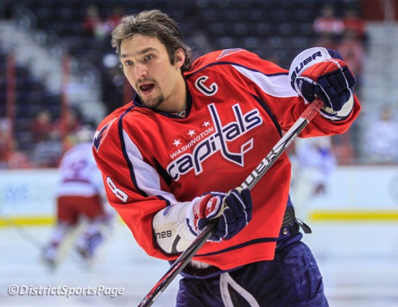 Alex Ovechkin during warmups at Verizon Center, May 2 (Cheryl Nichols/District Sports Page)