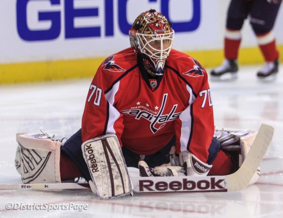 Braden Holtby stretching during warmups at Verizon Center, May 2 (Cheryl Nichols/District Sports Page)