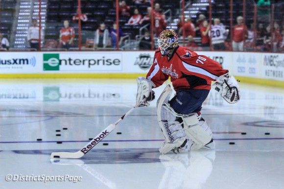 Braden Holtby leads the Caps onto the ice during warmups at Verizon Center, May 2 (Cheryl Nichols/District Sports Page)