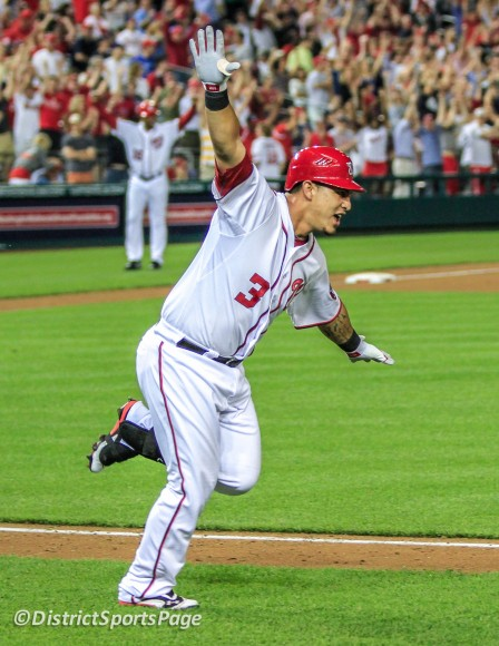 "Wilson Ramos ""zooms"" to first base on his walk-off single win over Phillies, May 4 (Cheryl Nichols/District Sports Page)"