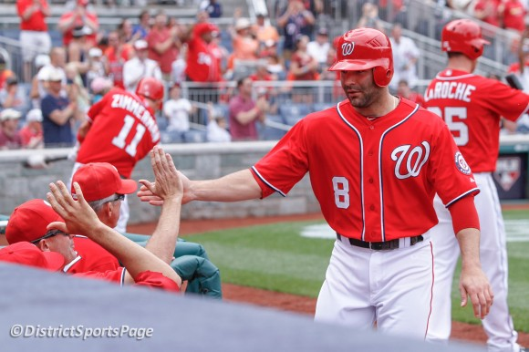 Washington Nationals 2B Danny Espinosa scores on Bryce Harper's triple in 3rd inning, May 20, 2012. (Cheryl Nichols/District Sports Page)