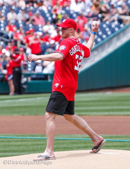 Caps Jason Chimera throws out the ceremonial first pitch at Nats Park, May 20 (Cheryl Nichols/District Sports Page)