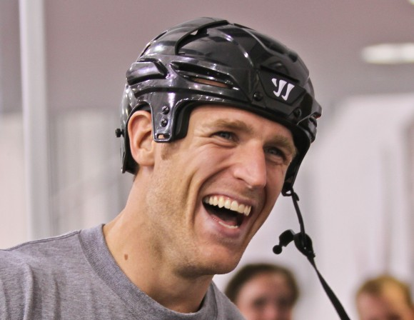 Brooks Laich enjoying being back at Caps training camp in Sept. 2011 (Cheryl Nichols/District Sports Page)