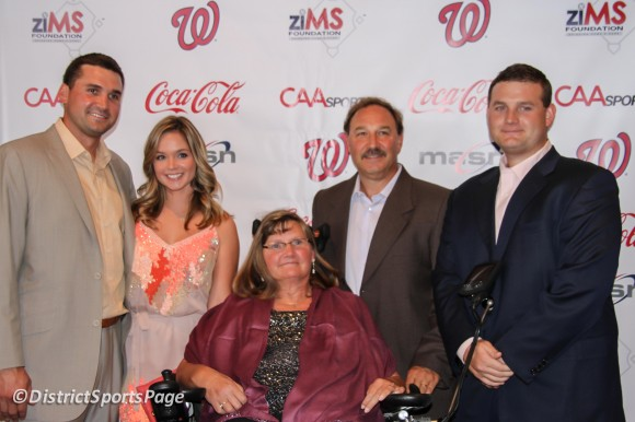 "Ryan Zimmerman and his family at ziMS 3rd Annual ""A Night at the Park"" at Nationals Park, June 14, 2012. Fiance Heather Dowden, mother Cheryl, father Keith and brother Sean. (Cheryl Nichols/District Sports Page)"