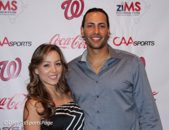 "Michael Morse and fiance Jessica at ziMS 3rd Annual ""A Night at the Park"" at Nationals Park, June 14, 2012. (Cheryl Nichols/District Sports Page)"