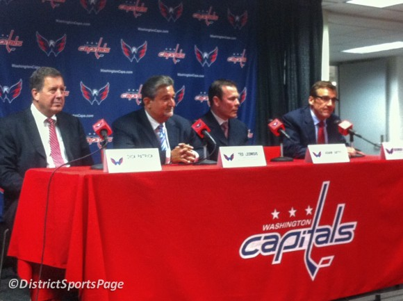 Dick Patrick, Ted Leonsis, Head Coach Adam Oates and George McPhee at the Washington Capitals Press Conference, June 27, 2012. (Dave Nichols/District Sports Page)