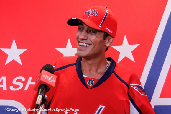 Mike Ribeiro addressing media during Washington Capitals Development Camp Day 6 Scrimmage at Kettler,  7/14/2012. (Cheryl Nichols/District Sports Page)