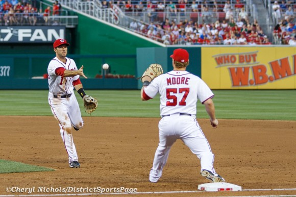 Carlos Ruiz grounded out, Steve Lombardozzi to Tyler Moore for third out in third inning - Philadelphia Phillies at Washington Nationals, July 31, 2012. (Cheryl Nichols/District Sports Page)