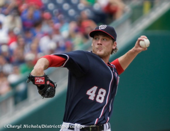 Ross Detwiler pitched seven shutout innings - Chicago Cubs v. Washington Nationals, 9/3/2012. (Cheryl Nichols/District Sports Page)
