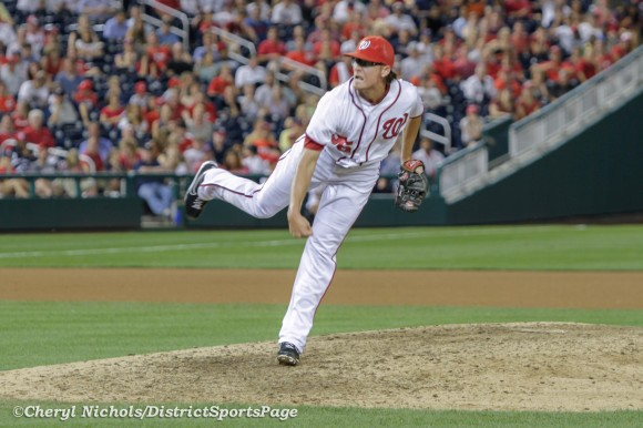 Tyler Clippard struggled in the 10th inning - Miami Marlins v. Washington Nationals, 9/7/2012. (Cheryl Nichols/District Sports Page)