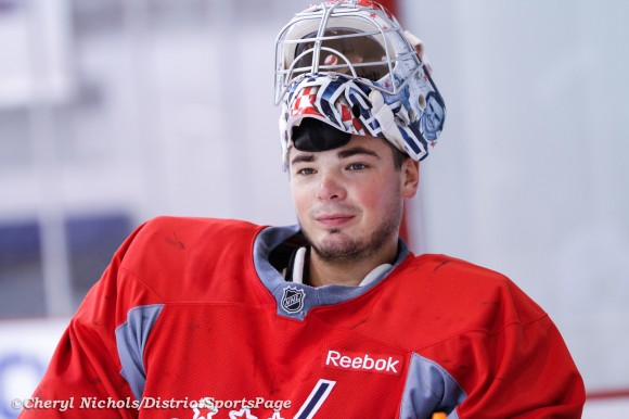 Michal Neuvirth - Captials practice at Kettler, September 14, 2012 (Cheryl Nichols/District Sports Page)