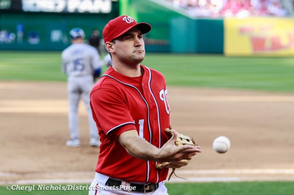 Ryan Zimmerman tossing fans a ball between inning - Los Angeles Dodgers v. Washington Nationals, Game One of Doubleheader on September 19, 2012 (Cheryl Nichols/District Sports Page)