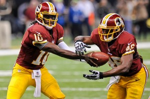 Robert Griffin III hands off to Alfred Morris in Redskins 40-32 win over New Orleans Saints in Week 1. (Photo by Brian Murphy)