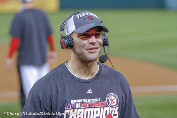 Danny Espinosa during his MLB Network interview - Philadelphia Phillies v. Washington Nationals, October 1, 2012 (Cheryl Nichols/District Sports Page)