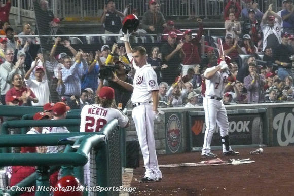 Adam LaRoche taking curtain call after hitting 100th RBI - Philadelphia Phillies v. Washington Nationals, October 2, 2012 (Cheryl Nichols/District Sports Page)