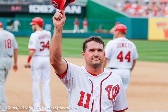 Ryan Zimmerman saluting fans after Bryce Harper replaced him as a pinch runner - Last Game of Regular Season-Philadelphia Phillies v. Washington Nationals, October 3, 2012 (Cheryl Nichols/District Sports Page)