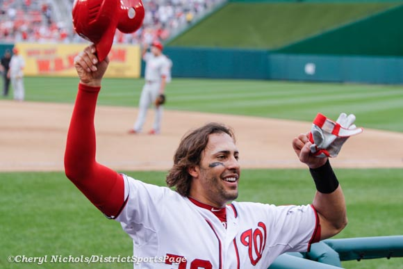 Michael Morse curtain call after his home run - Last Game of Regular Season-Philadelphia Phillies v. Washington Nationals, October 3, 2012 (Cheryl Nichols/District Sports Page)