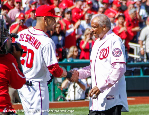 Ian Desmond and Frank Robinson - NLDS Game 3: St. Louis Cardinals v. Washington Nationals, October 10, 2012 (Cheryl Nichols/District Sports Page)