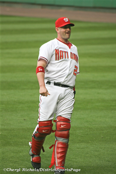 Former Nationals Catcher Brian Schneider at RFK, 5/18/2007 (© Cheryl Nichols)