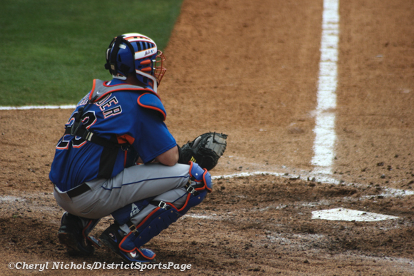 Former Nationals Catcher Brian Schneider at spring training with New York Mets, 3/24/2008 (© Cheryl Nichols)