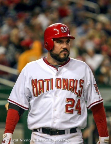 Former National 1B Nick Johnson sporting a beard, 4/17/2009 (Cheryl Nichols/District Sports Page)