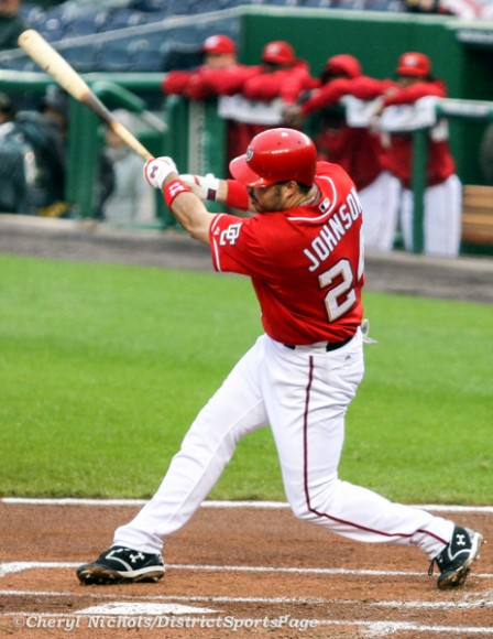 Former National 1B Nick Johnson at Nats Park, 6/4/2009 (Cheryl Nichols/District Sports Page)