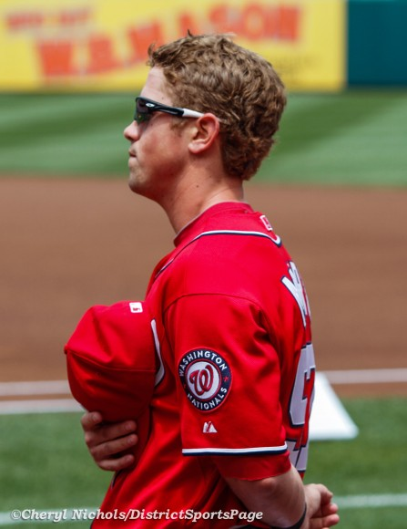 Nationals Tyler Moore during National Anthem in 2012 (Cheryl Nichols/District Sports Page)