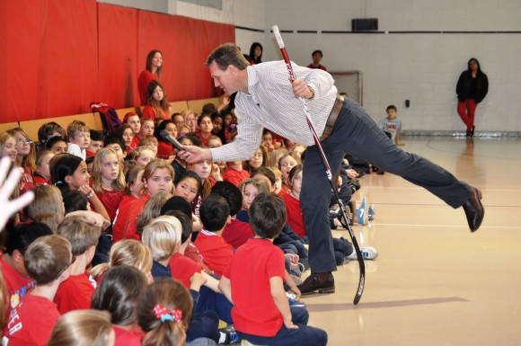 Washington Capitals assistant coach Calle Johansson takes questions during a Hockey School assembly at Blessed Sacrament School in Alexandria, Va. During the clinic Johansson instructed students on stickhandling, passing and shooting. (Photo Courtesy of Washington Capitals)