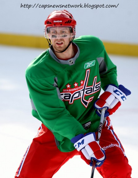 Fehr practices with Caps before Winter Classic. (photo by Cheryl Nichols)