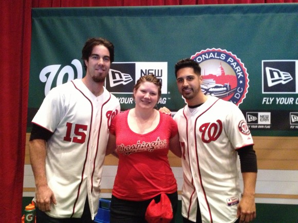 2013 NatsFest, 1/26/2013: Posing for photos with pitchers Dan Haren and Gio Gonzalez (Photo by Lisa Milisa)