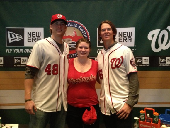 2013 NatsFest, 1/26/2013: Posing for photos with pitchers Ross Detwiler and Tyler Clippard (Photo by Lisa Milisa)