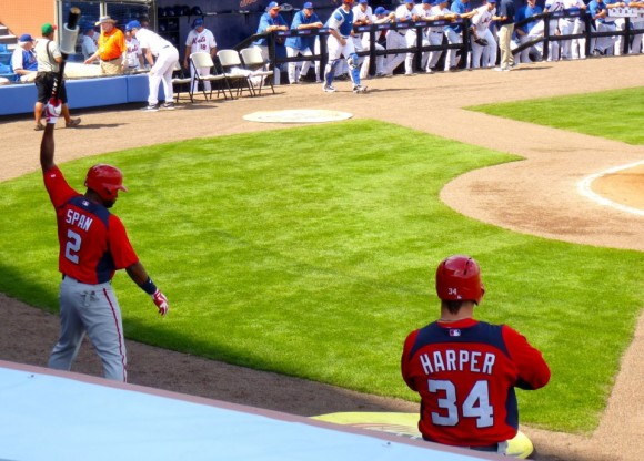 Denard Span and Bryce Harper get ready to take their hacks against the Mets, 2/23/2013. (photo courtesy L. Albisu)