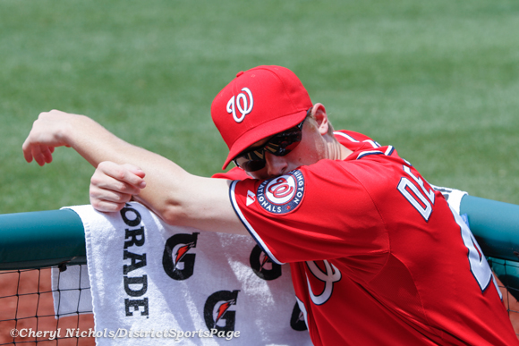 Ross Detwiler in dugout during Colorado Rockies v. Washington Nationals,  7/08/2012. (Cheryl Nichols/District Sports Page)
