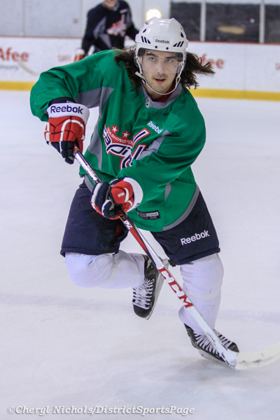 Mathieu Perreault - Washington Capitals practice at Kettler, 3/28/2013 (Cheryl Nichols/District Sports Page)