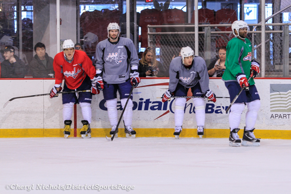 Ovechkin, Brouwer, Laich and Ward - Washington Capitals practice at Kettler, 3/28/2013 (Cheryl Nichols/District Sports Page)