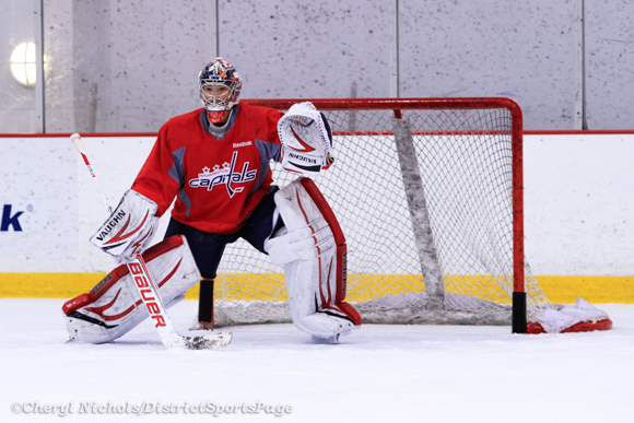 Michal Neuvirth - Washington Capitals practice at Kettler, 3/28/2013 (Cheryl Nichols/District Sports Page)