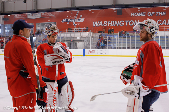 Olie Kolzig meeting with Neuvy and Holts Washington Capitals practice at Kettler, 3/28/2013 (Cheryl Nichols/District Sports Page)