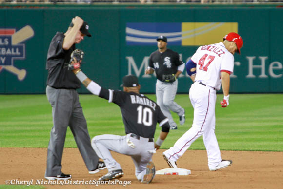Photo 6 of 6: Gio  Gonzalez singles to right field, but tried to get the double. He repeated Bryce Harper from earlier in game. - Chicago White Sox v. Washington Nationals, 4/9/2013 (Cheryl Nichols/District Sports Page)