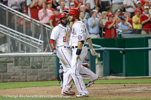 Denard Span and Jayson Werth after Werth's home run - Chicago White Sox v. Washington Nationals, 4/9/2013 (Cheryl Nichols/District Sports Page)