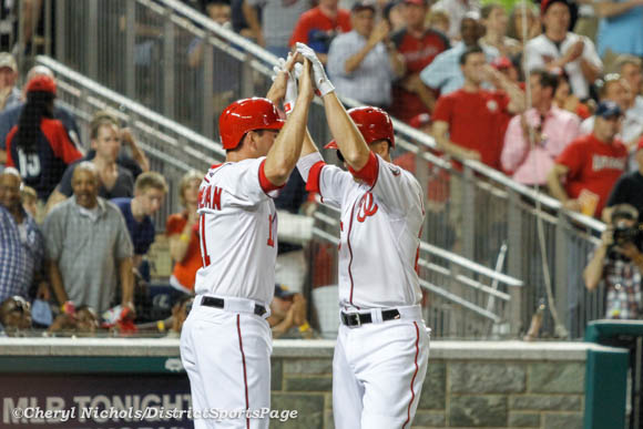 Ryan Zimmerman congratulating Adam LaRoche on 2-run homer - Chicago White Sox v. Washington Nationals, 4/9/2013 (Cheryl Nichols/District Sports Page)