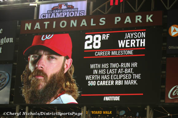 Jayson Werth hit the 500 career RBI mark -  Chicago White Sox v. Washington Nationals, 4/9/2013 (Cheryl Nichols/District Sports Page)