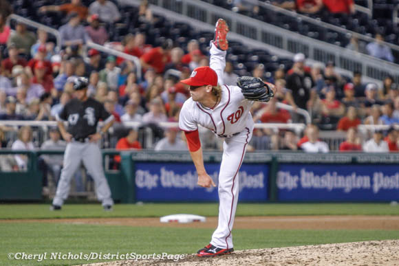 I think I would fall over if I tried to lift my leg this high - Drew Storen - Chicago White Sox v. Washington Nationals, 4/9/2013 (Cheryl Nichols/District Sports Page)